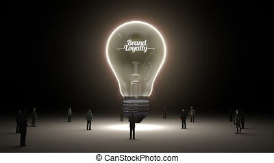 Typo 'Brand loyalty' in light bulb and surrounded...