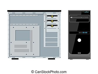 Computer case front and side view isolated on white. PC...