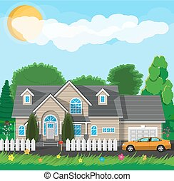 Private suburban house with fence