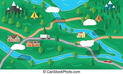 Suburban nature map - Suburban map with houses with car,...