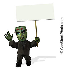 Cartoon Frankenstein with Blank Sign - 3D render