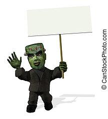 Cartoon Frankenstein with Blank Sign - 3D render