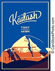 Mount Kailash in Himalayas, Tibet outdoor adventure poster....