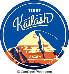 Mount Kailash in Himalayas, Tibet outdoor adventure badge....