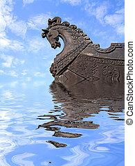 cabeza, caballo, barco