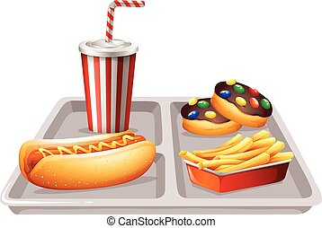 Fastfood and soft drink on tray illustration
