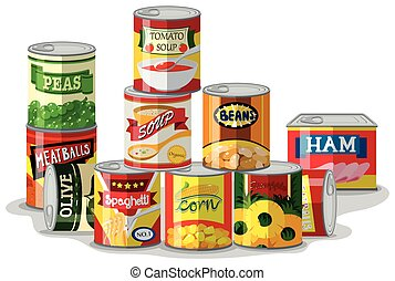 Different types of canned food