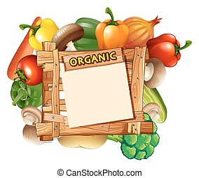 Vegetables around the wooden sign