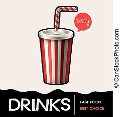 Soft drink in cup on poster illustration