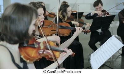 Symphonic orchestra play of violin.