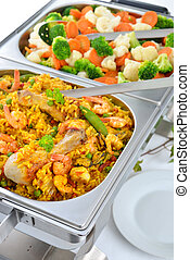 Buffet with paella - Warm buffet with Spanish paella and...