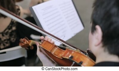 Close-up of musician playing violin, classic music.