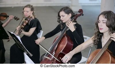 Girls play on violoncello and violin in orchestra.