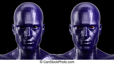 3d rendering. Two faceted blue android heads looking front...
