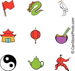Japanese travelicons set, cartoon style
