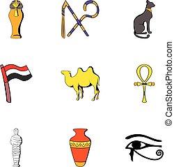 Egypt icons set, cartoon style - Egypt icons set. Cartoon...