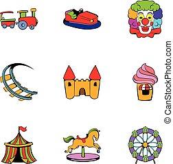 Lunapark icons set, cartoon style - Lunapark icons set....