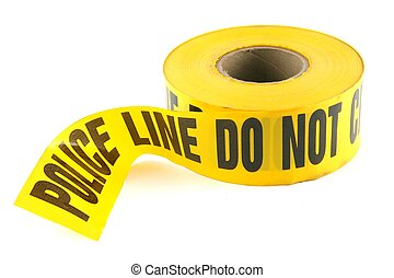 Police Tape Do Not Cross on White Background - Yellow Police...