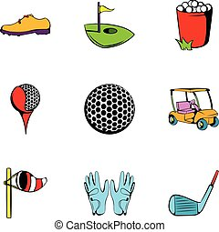 Golf competition icons set, cartoon style