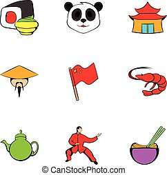 Japanese culture icons set, cartoon style