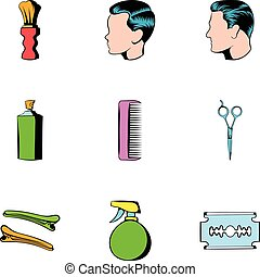 Haircutting icons set, cartoon style - Haircutting icons...