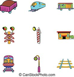 Machinist icons set, cartoon style - Machinist icons set....