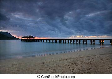 Serene Pier in Hawaii at Sundown
