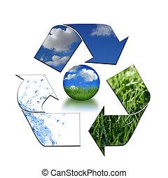 mantendo, meio ambiente, limpo, com, reciclagem