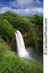 Waterfall in Kauai Hawaii With Rainbow - Waterfall in Hawaii...