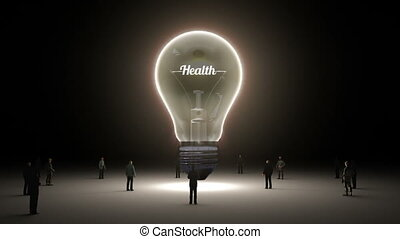 Typo 'health' in light bulb and surrounded businessmen,...