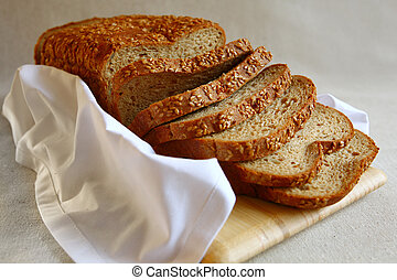 Healthy Bread With Flax Seed - Healthy Sliced Wheat Bread...