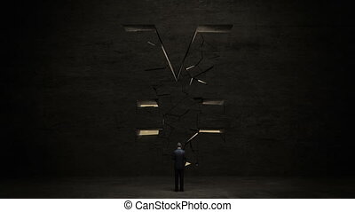 businessman standing in front of black wall, shape of a Yen...
