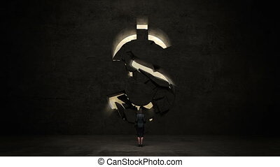 businesswoman standing in front of black wall, shape of a...