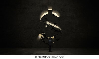 businessman standing in front of black wall, shape of a...