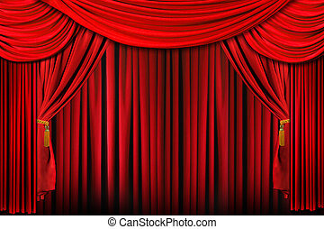 Stage in Bright Red Dramatic Lighting - Curtains from a...