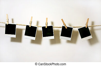 Vintage Polaroid Frames - Old Polaroid Film Blanks Hanging...
