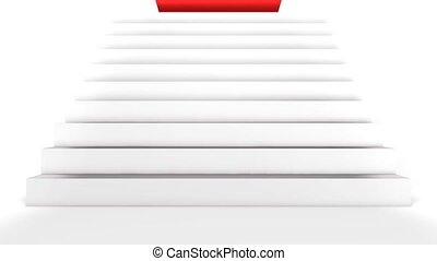 Red carpet unrolling on the stairs. - A Red carpet is...