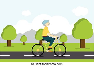 Active senior on bicycle. Old age tourist. Tourist riding on...