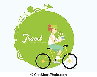 Young woman riding on bicycle with map.