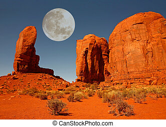 The Thumb Monument in Monument Valley Arizona - Moon Over...
