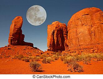 a, polegar, monumento, monumento, vale, Arizona