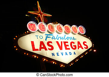 Welcome To Las Vegas Electical Neon Sign at Night
