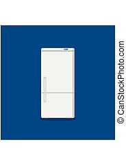 Household appliances fridge isolated on blue background....