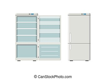 Household appliances fridge open and closed isolated on...