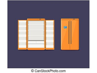 Orange modern household appliances fridge with two doors isolated on dark blue background. Electronic device refrigerator open and closed. Home appliance freezer vector illustration.