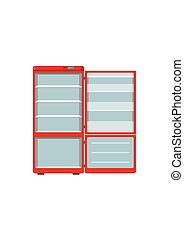 Red household appliances fridge open isolated on white background. Electronic device refrigerator. Home appliance freezer vector illustration.