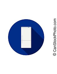 Household appliances fridge icon with shadow isolated on white background. Electronic device refrigerator. Home appliance freezer vector illustration.