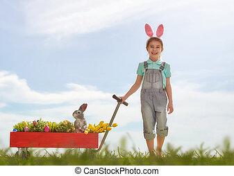 girl wearing bunny ears - Cute little child girl wearing...