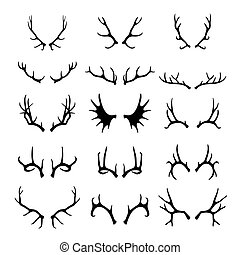 Deer antlers set - Vector deer antlers black icons set