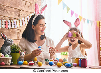 family preparing for Easter